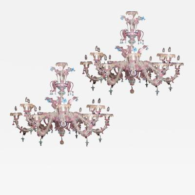 Pair of Sumptuous Pink and Heavenly Murano Glass Chandeliers 1990s