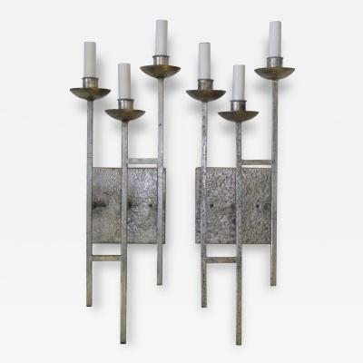 Pair of Superb 1960s Hammered and Silvered Metal Sconces