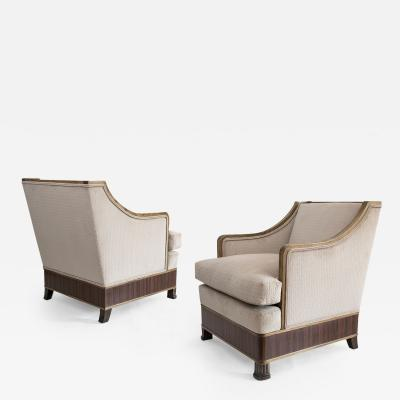 Pair of Swedish Art Deco Carved Elm Armchairs