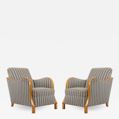 Pair of Swedish Biedermeier Striped Club Chairs