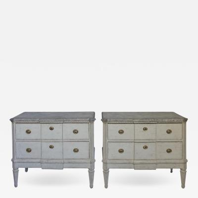 Pair of Swedish Commodes with Faux Marble Tops