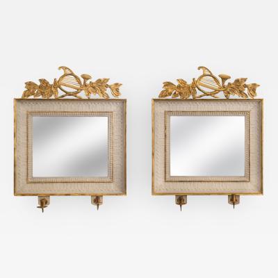 Pair of Swedish Empire Painted Parcel Gilt Wood Rectangular Mirrors