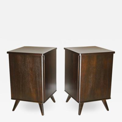 Pair of Swedish Moderne Dark Walnut Bedside Cabinets 1940s
