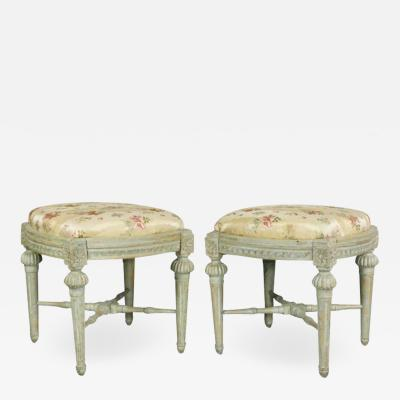 Pair of Swedish Neoclassic Painted Footstools