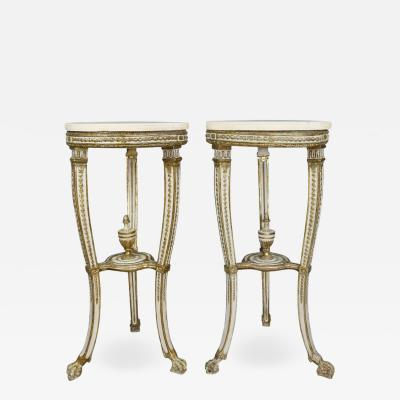 Pair of Swedish Neoclassical Giltwood and Painted Torchere