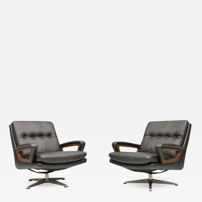 Pair of Swivel Lounge Chairs in Dark Brown Leather by Carl Straub Germany