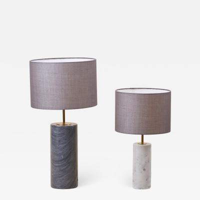 Pair of Table Lamps in White and Grey Marble Germany