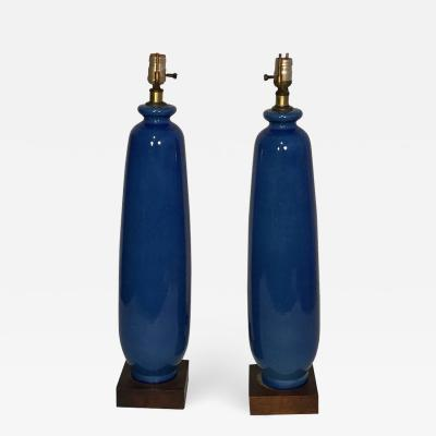 Pair of Tall Blue Vase Form Table Lamps