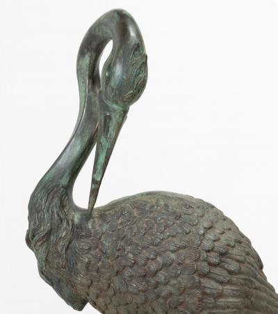 Pair of Tall Bronze Sculptural Cranes