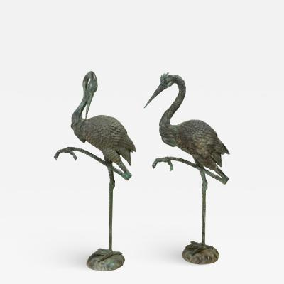 Pair of Tall Bronze Sculptural Cranes
