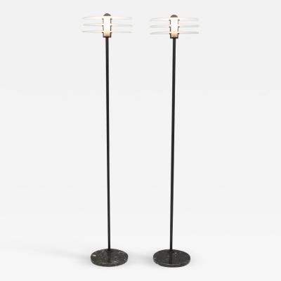 Pair of Tall Italian Floor Lamp In Marble Metal and Glass 1980s