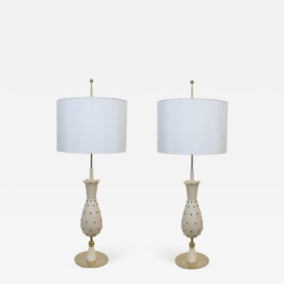 Pair of Tall Vintage Hollywood Glam Pineapple Table Lamps From Switzerland