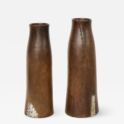 Pair of Tall Wooden African Milk Holders