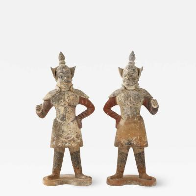 Pair of Tang Dynasty Painted Earthenware Guardians or Soldiers