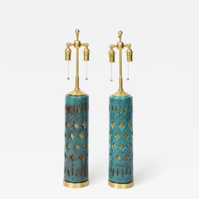 Pair of Teal Glazed Italian Ceramic Lamps