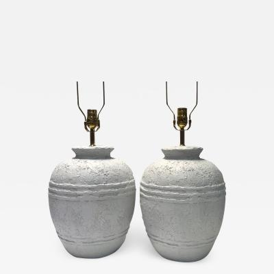 Pair of Textured Ceramic Lamps