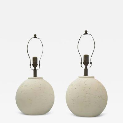 Pair of Textured Circular Plaster Lamps