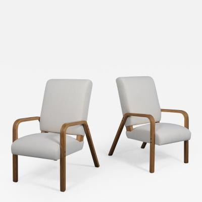 Pair of Thonet Bentwood Lounge Chairs
