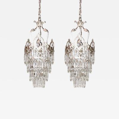 Pair of Tiered Silver and Crystal Pendants