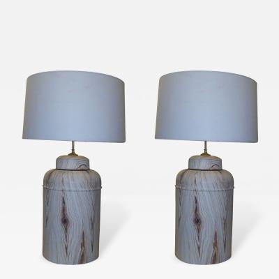 Pair of Tole Faux Painted Canister Lamps