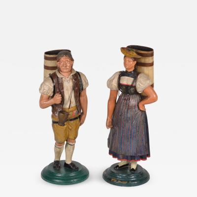 Pair of Tole Figures c 1820 40