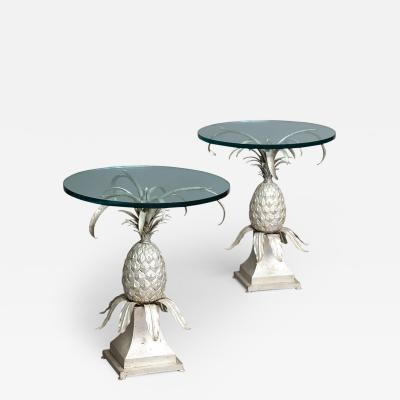 Pair of Toleware and Glass Side Tables