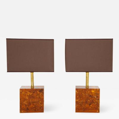 Pair of Tortoise Shell Style Bronze Lamps with Brown and Gold Shades Italy