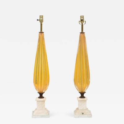Pair of Translucent Yellow Murano Glass Lamps with Marble Bases