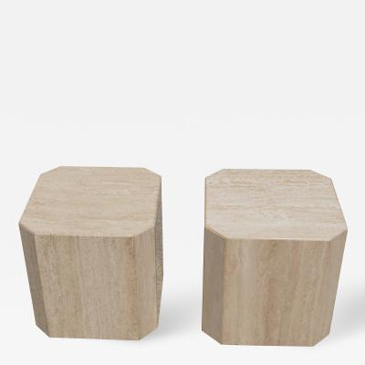 Pair of Travertine Cube Side Tables