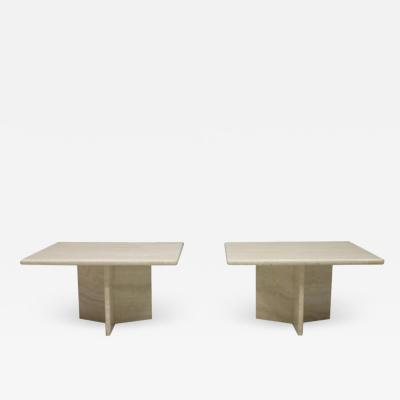 Pair of Travertine Side Tables Italy 1970s