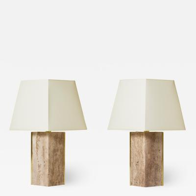 Pair of Travertine and Brass Marine Table Lamps by Dorian Caffot de Fawes