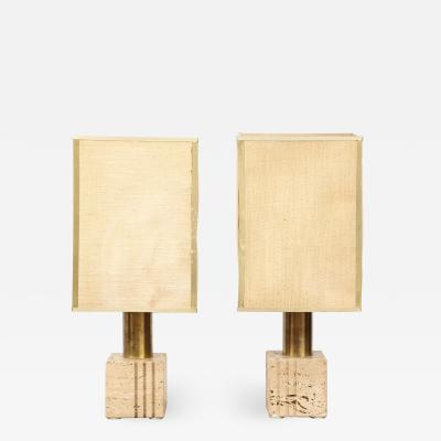 Pair of Travertine and Brass Table Lamps by Fratelli Mannelli Italian 1970s
