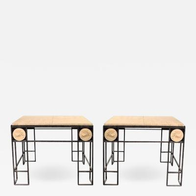 Pair of Travertine and Iron Coffee Tables France 1950