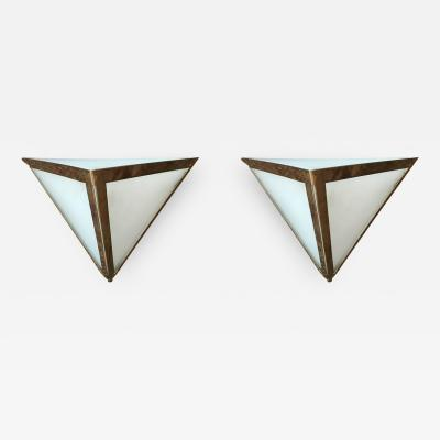 Pair of Triangular Wall Sconces from a Marine Mid Century Modern Cruise Ship