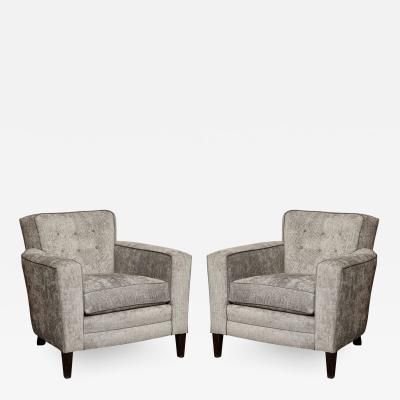 Pair of Tufted Club Chairs