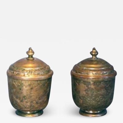Pair of Turkish Tombak engraved covered pots