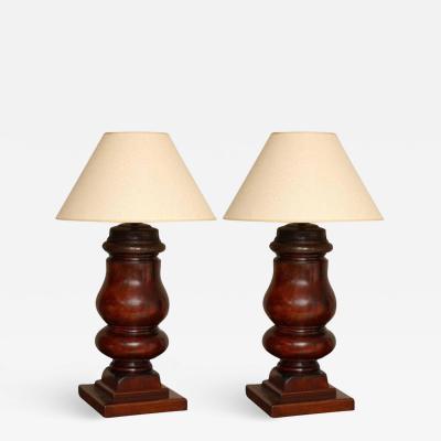 Pair of Turned Mahogany Billiard Table Legs as Lamps