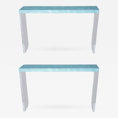 Pair of Turquoise Shagreen Consoles with Lucite Bases
