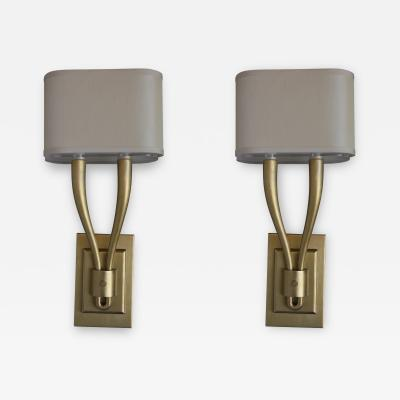 Pair of Two Arm Brushed Brass Sconces with Shades