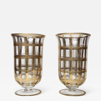 Pair of Two Glass Vases with Gold Fleck 1950 Italy