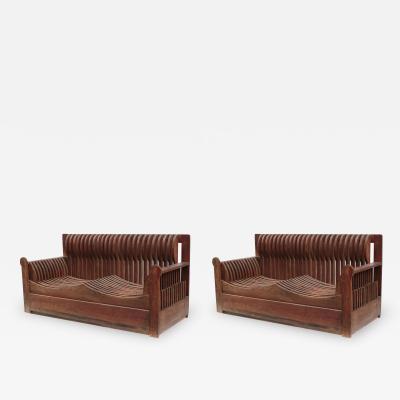Pair of Two Seater Sofas by Mario Ceroli for Poltronova