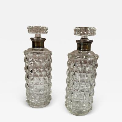 Pair of Two Vintage Glass Bottle Italy 1950