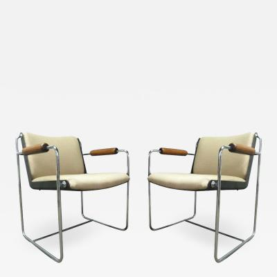 Pair of Unique Wood and Chrome Armchairs