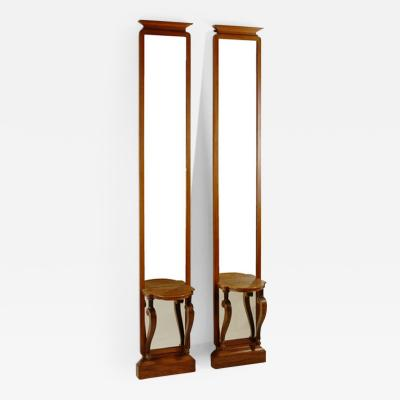 Pair of Unusual Asian Inspired Tall and Narrow Art Deco Mirror Consoles
