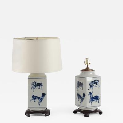 Pair of Unusual Blue and White Lamps Rectangular Form