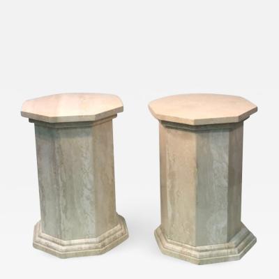 Pair of Unusual Octagonal Design Travertine Pedestals