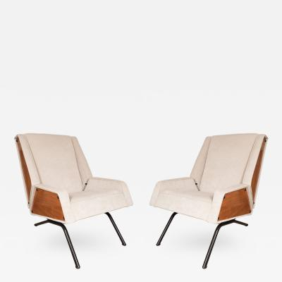 Pair of Unusual Wood Sided Upholstered Chairs