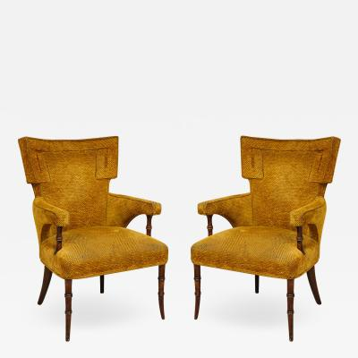 Pair of Upholstered Faux Bamboo Fireside Armchairs