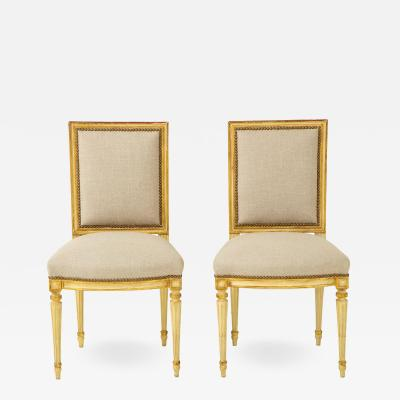 Pair of Upholstered Louis XVI Side Chairs