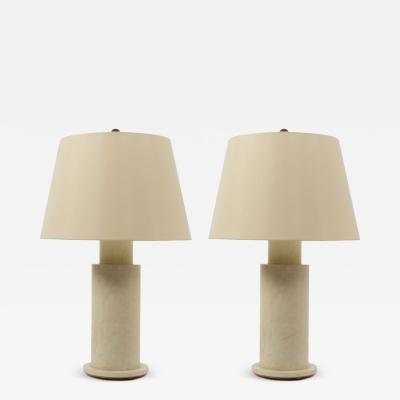 Pair of Vellum Column Table Lamps Wthe Linen Shades